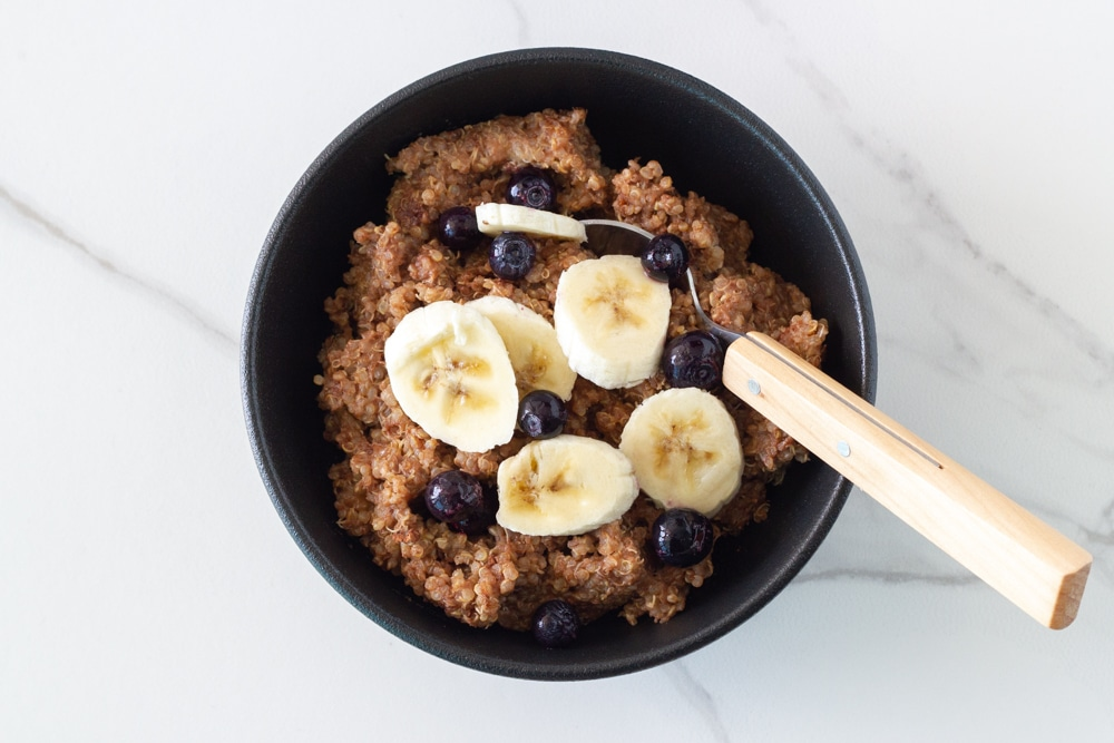 How the Chocolate Banana Quinoa Breakfast Bowl looks when ready to eat.