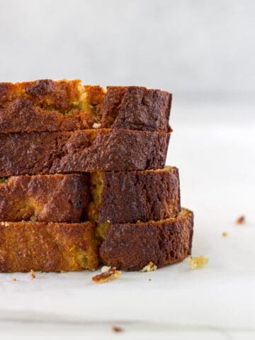 how the gluten free banana bread looks when it is ready to eat.