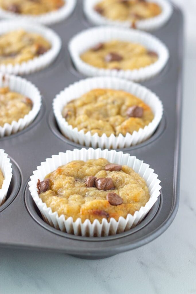 how the gluten free banana chocolate chip muffins look when finished