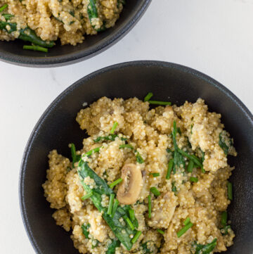 photo of Mushroom and Spinach Quinoa Risotto when it is ready to eat