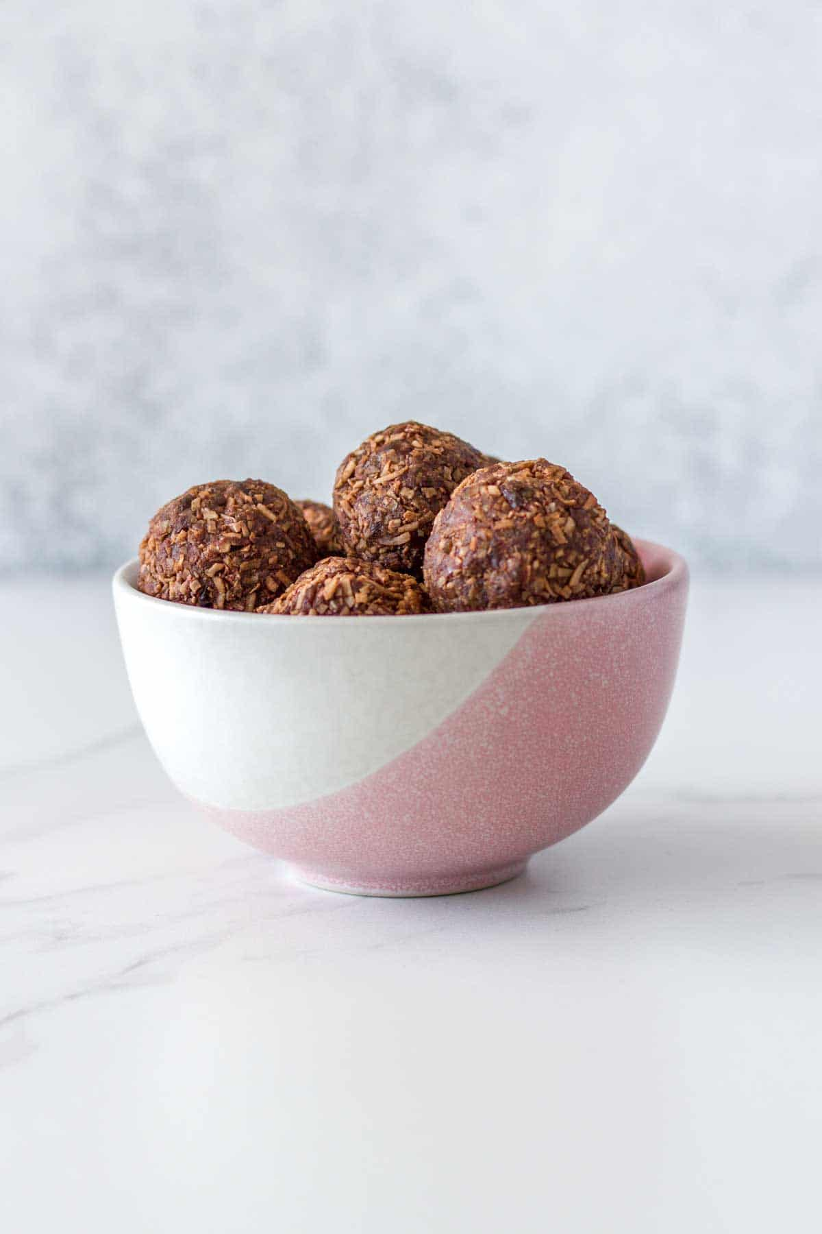 How the Peppermint Coconut Rough Bliss Balls look when ready to eat