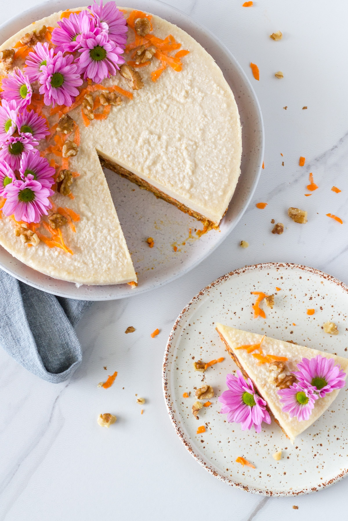 a photo of piece of the Raw Carrot Cake with Macadamia Frosting with the cake