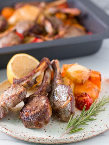 how the One Tray Baked Lamb Cutlets with Potatoes looks when ready to eat