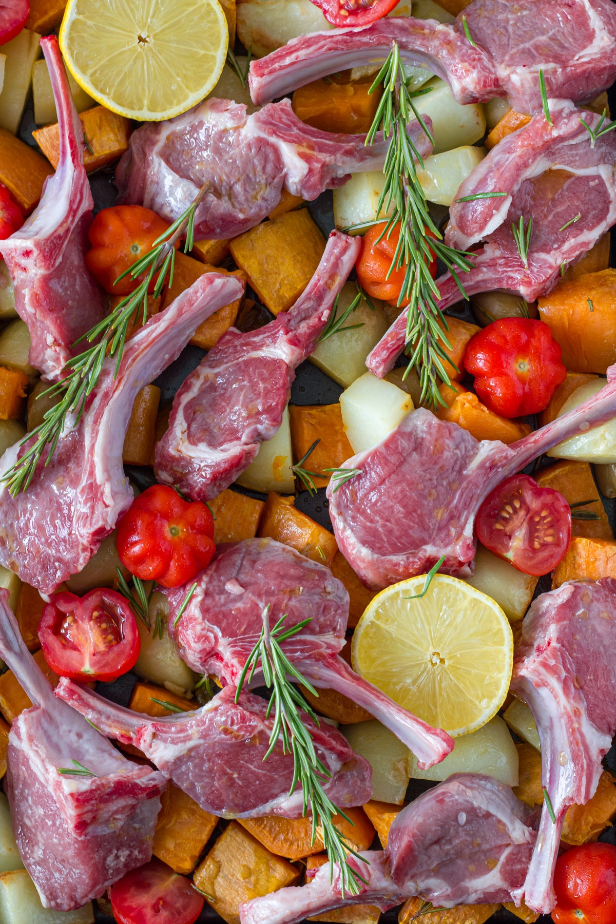 A photo of how to place the lamb cutlets on your baking tray