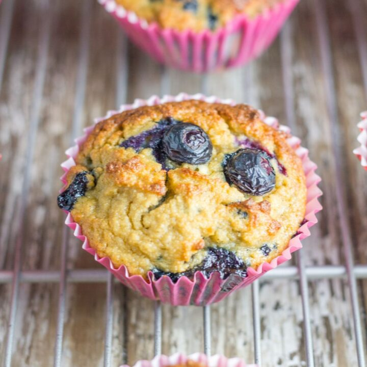 photo of the gluten free blueberry muffins on a cooling rack
