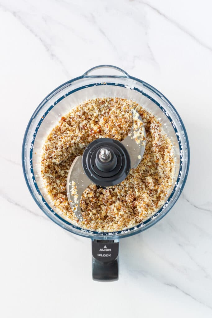 photo of food processor bowl with processed base ingredients