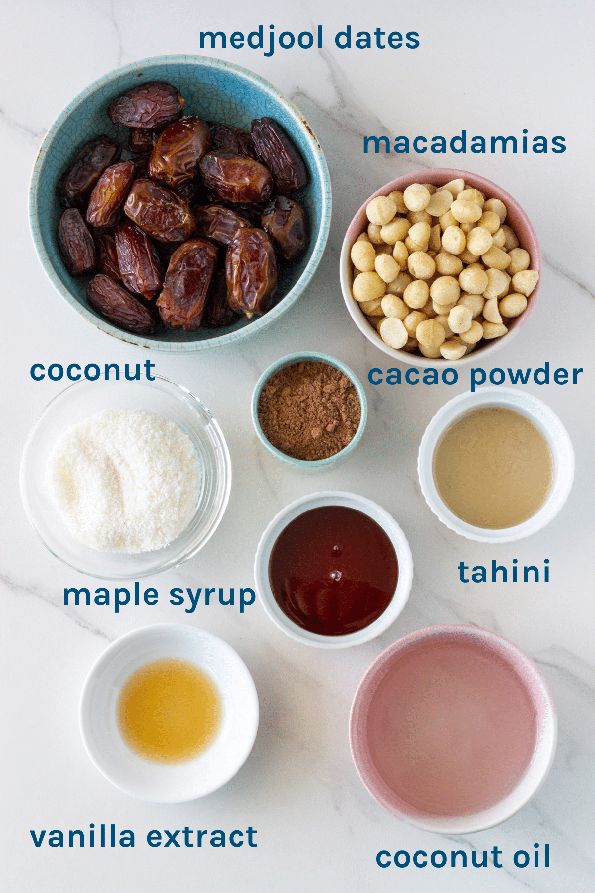 photo of ingredients you need to make the raw caramel slice