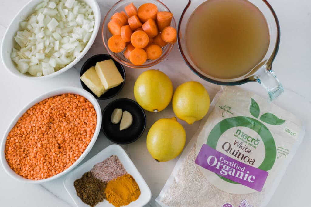 Photo of the ingredients you need to make the red lentil and quinoa soup