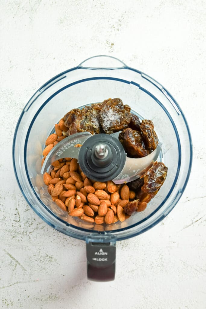 image of the salted caramel ingredients in the food processor bowl.