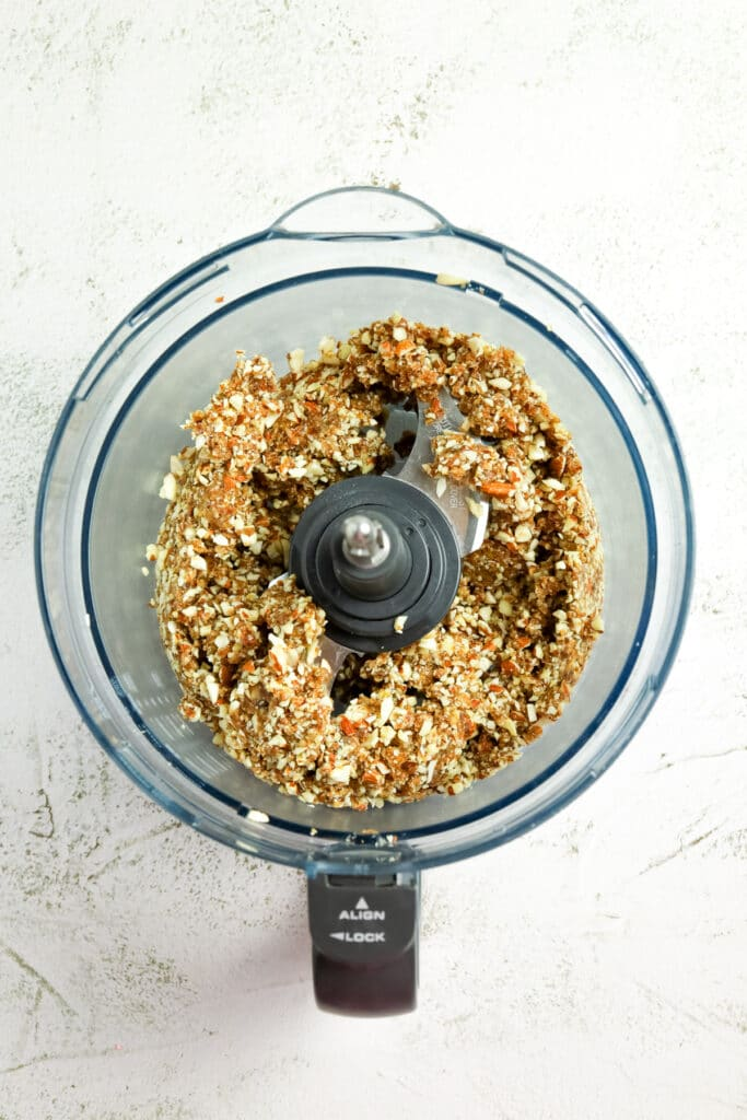 Image of the processed ingredients in the food processor bowl