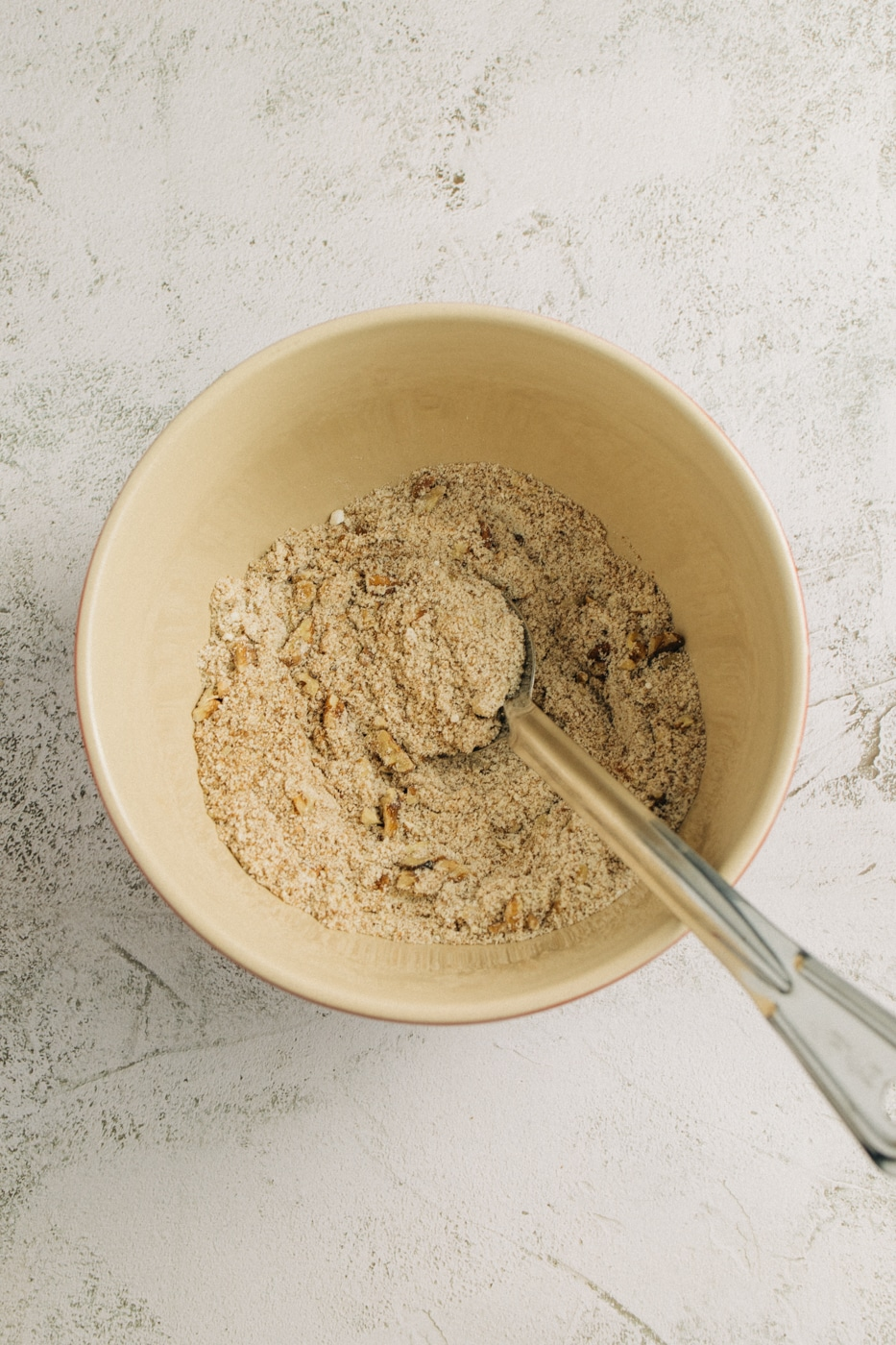 Image of dry ingredients combined together in a mixing bowl