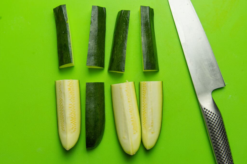 photo of preparing zucchini for the oven baked zucchini wedges