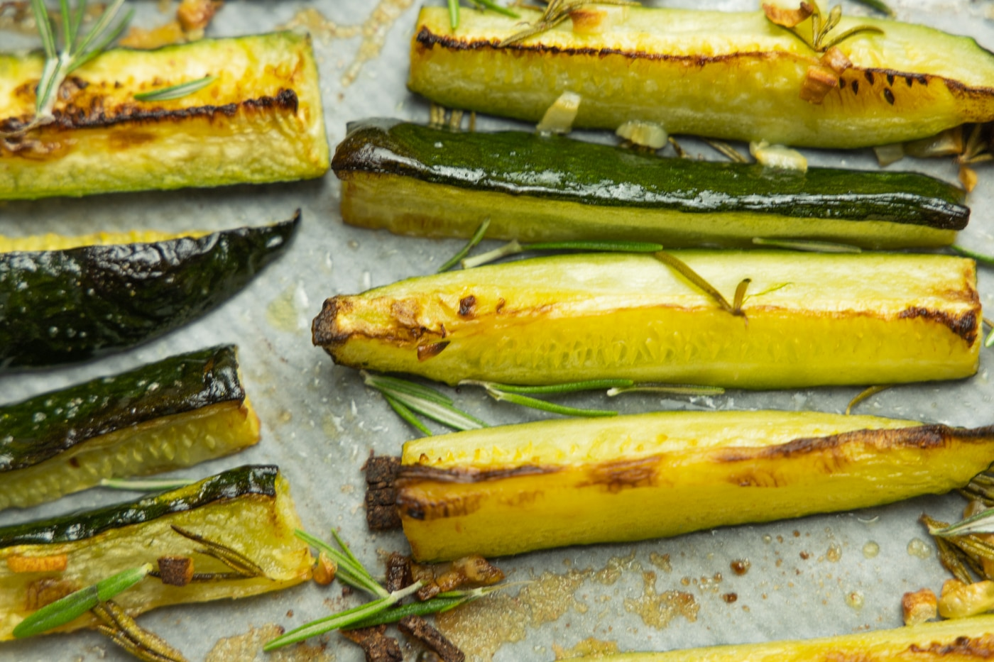 photo of oven baked zucchini wedges in tray
