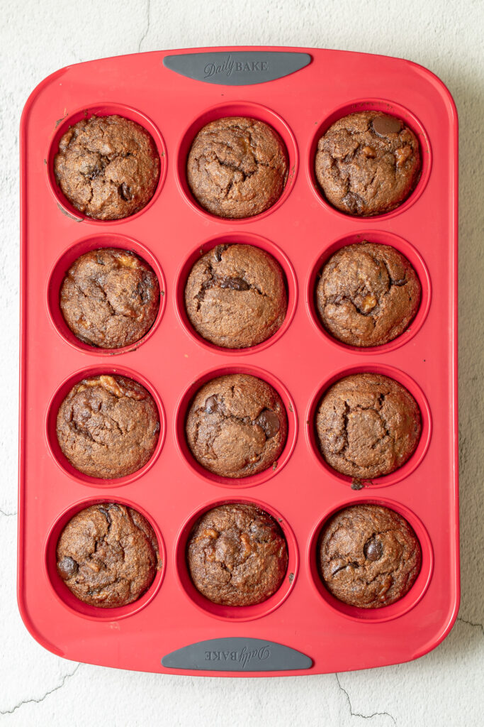 photo of cooked muffins in silicone muffin tray