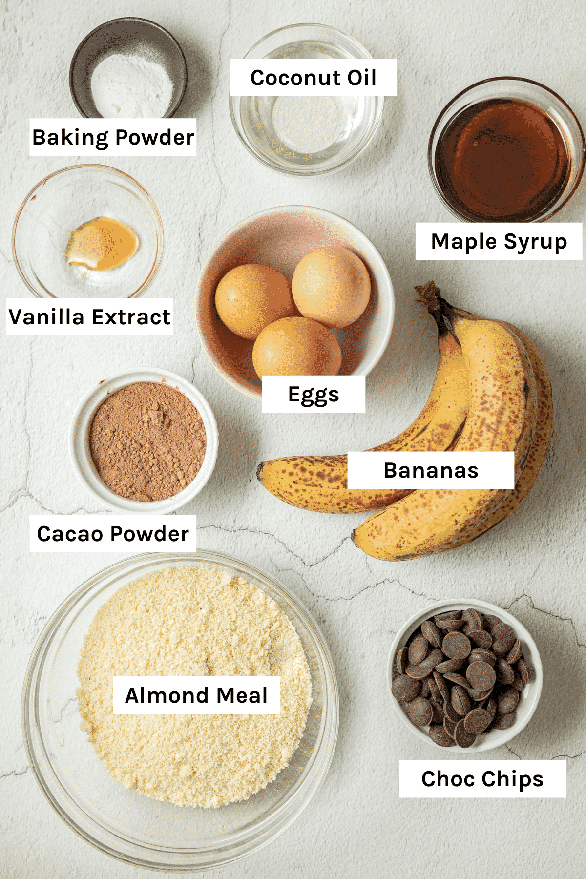 photo of the ingredients needed to make One Bowl Gluten Free Double Chocolate Banana Muffins