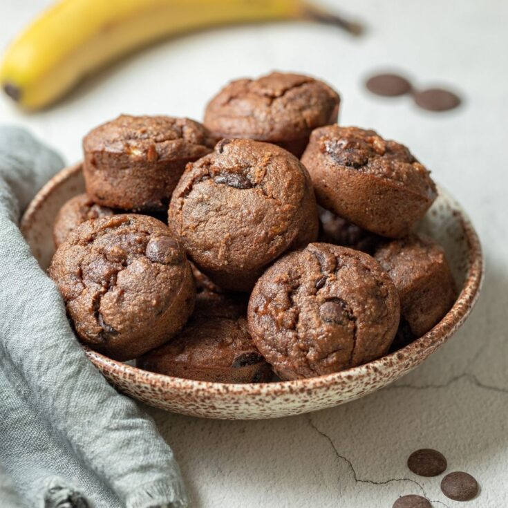 One Bowl Gluten Free Double Chocolate Banana Muffins
