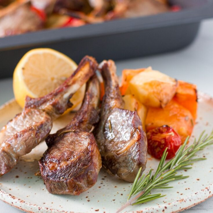 One Tray Baked Lamb Cutlets with Potatoes