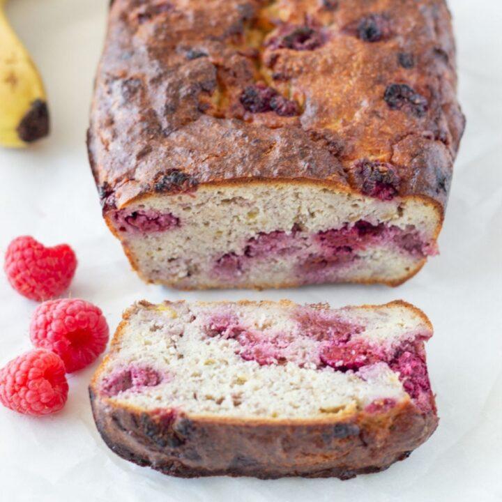 Low Carb Raspberry Banana Bread (Gluten Free, Dairy Free, No Added Sugar)